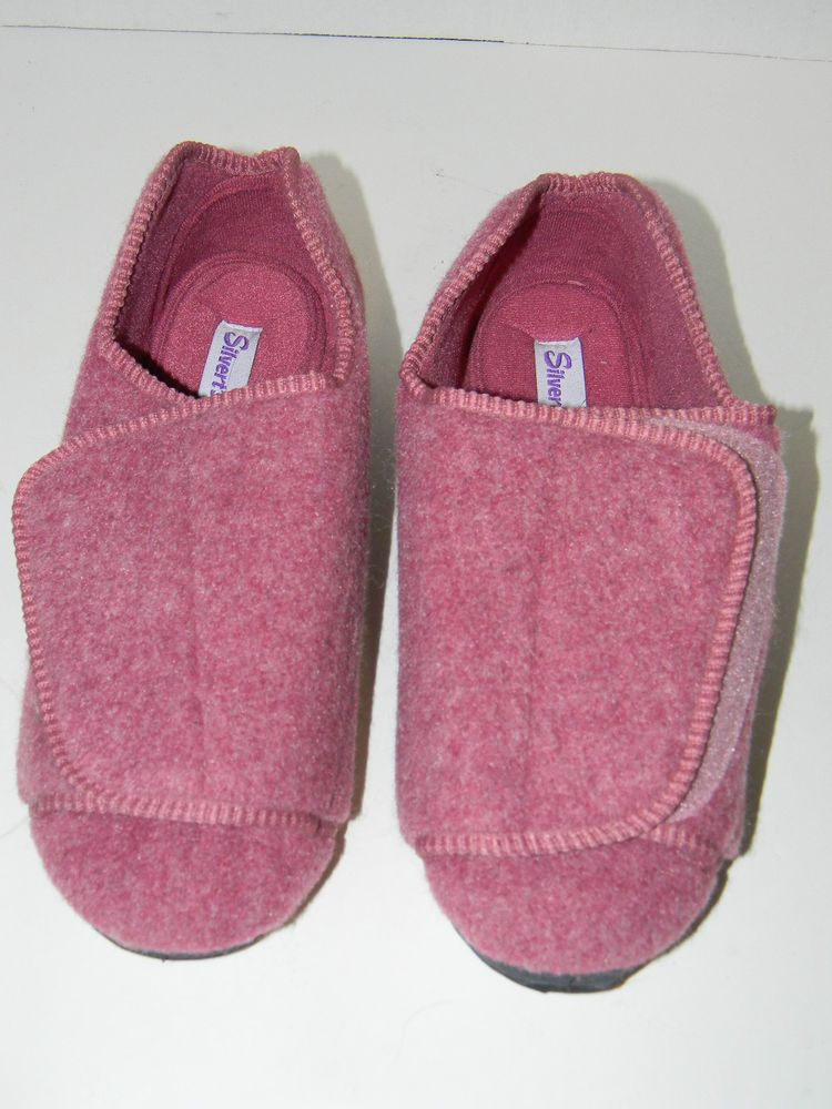 61f2170e45f SILVERTS Women s Extra Wide Diabetic Slippers Dusty Rose Velcro Solid Size  9  Silverts  SlipperShoes