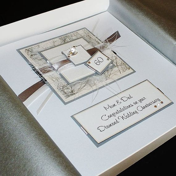 Personalised Boxed Diamond Wedding Anniversary Card For Mum Dad Grandparents Or Friends
