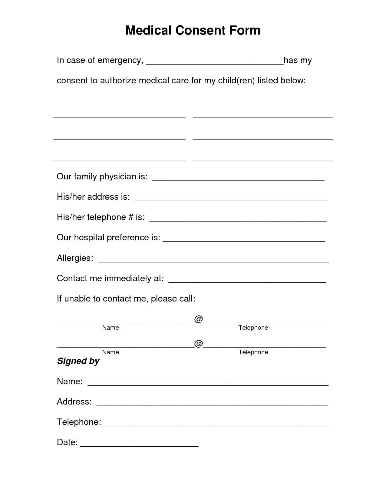 Free printable medical consent form free medical consent for Consent form template for children