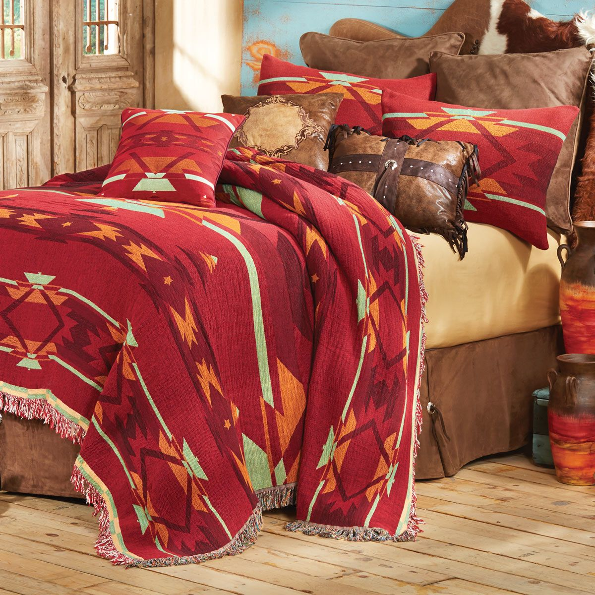 Beautiful Southwestern Flame Tapestry Coverlet   Queen   A Lone Star Western Decor  Exclusive   A Large Scale Geometric Tapestry In Red, Sage, Orange And Cream  Has ...