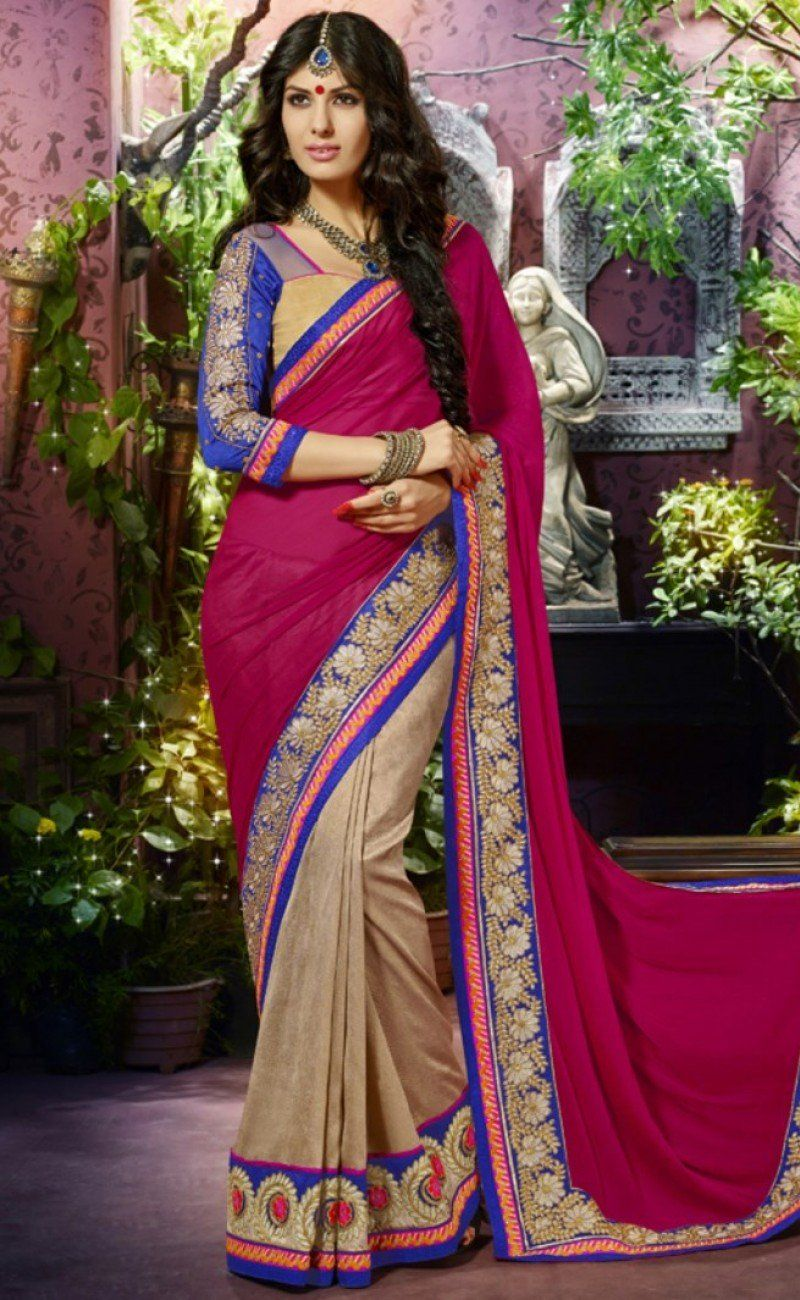 c0c1f125e58e5 Pink color chiffon saree pallo with cream color art silk saree scart along  with heavy embroidered with lase patch border. Saree with art silk with net  patch ...