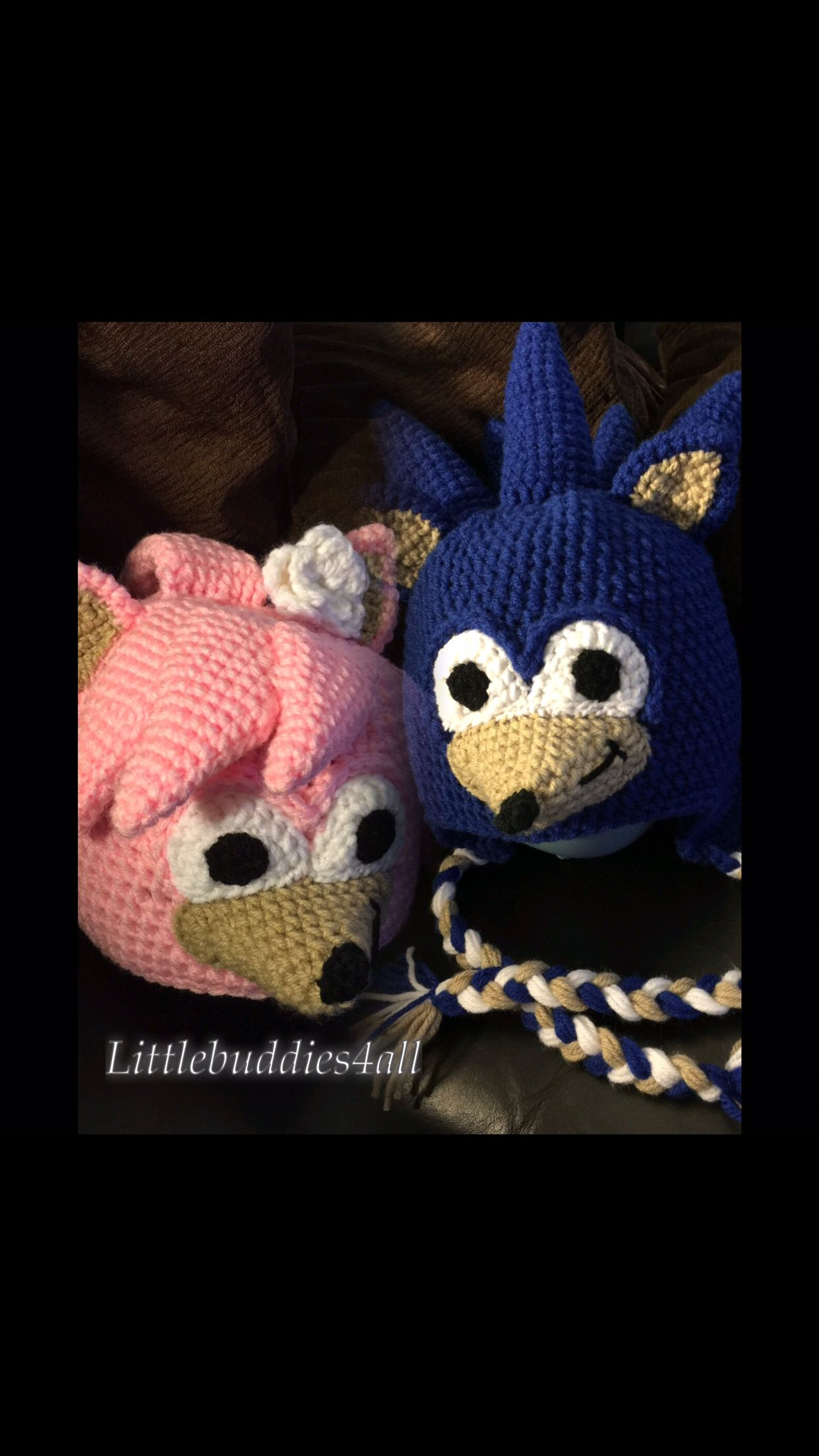 Crochet sonic the hedgehog hat pink and blue Littlebuddies4all ...
