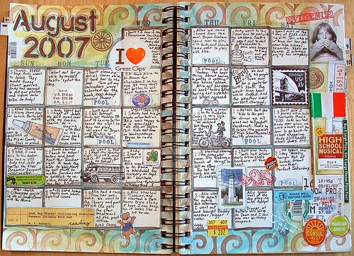 August 2007 Art Journal Inspiration Calendar Journal Book Art