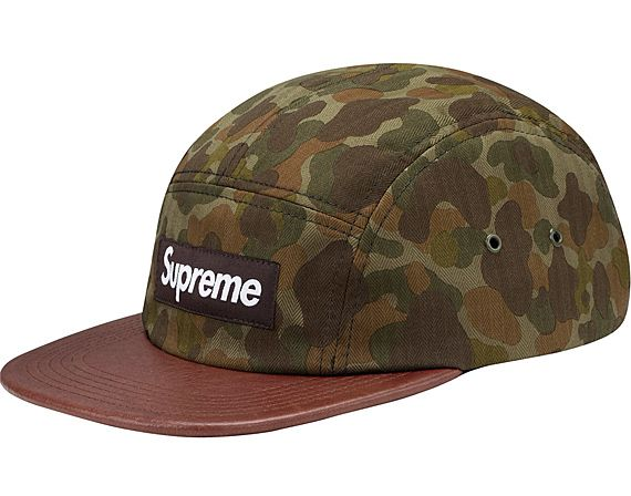 91e3efb15c541 Supreme Camp Cap - Camo Leather + Herringbone Leather