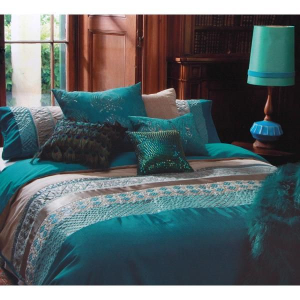Kas Australia Double Bed Zephir Quilt Cover Set Teal Main Product Photo Pillow Found Or Cloth Synthetic Fe Teal Bedding Sets Teal Bedding Peacock Bedroom