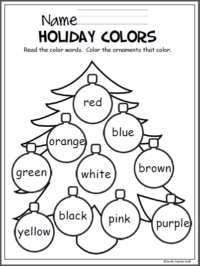 free christmas coloring activity to help pre k and kindergarten students learn the colors