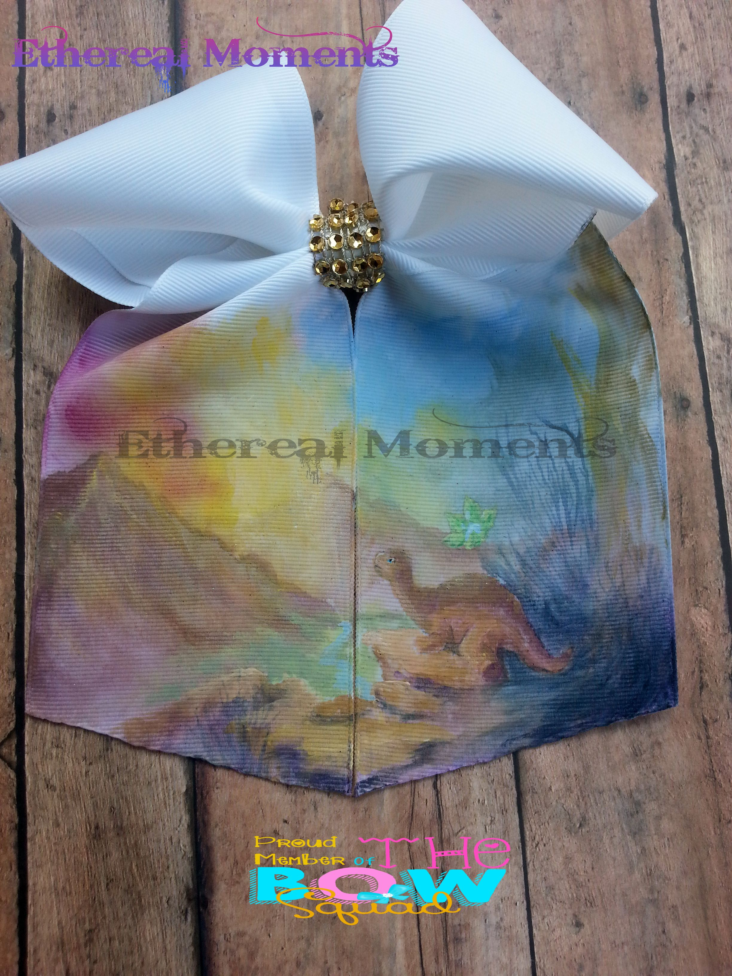 Land Before Time littlefoot handpainted cheer hairbow https://www.facebook.com/etherealmoments