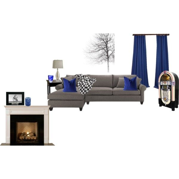 royal blue, grey and black living room | Blue grey, Royal blue and