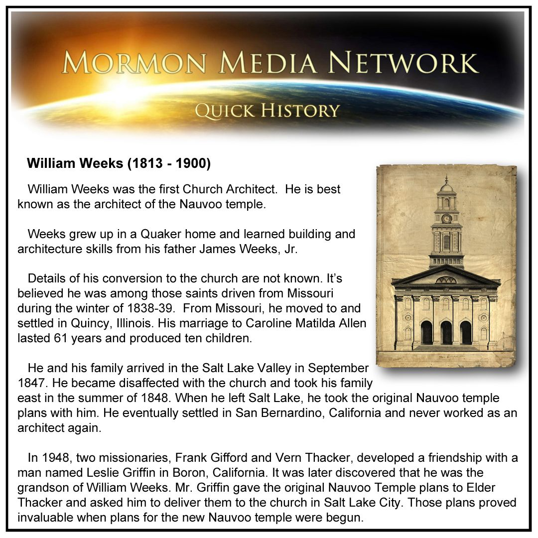 William Weeks, Architect of the Nauvoo Temple -- MormonMediaNetwork.com