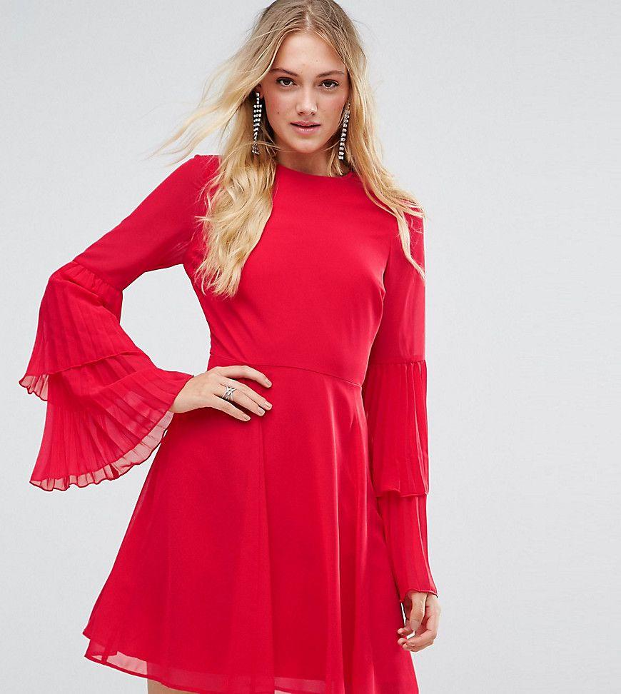 Tall triple pleated sleeve mini skater dress mini skater dress and