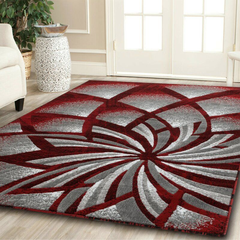 Delana New Modern Red Cream Gray Area Rug Area Rugs 6x9 Area