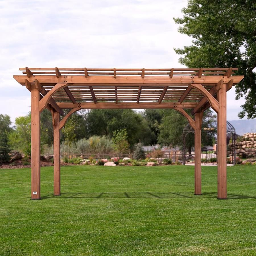 Backyard Discovery 10 X 14 Pergola 10 Ft W X 14 Ft L X 7 Ft 10 3 4 In Brown Wood Freestanding Pergola Lowes Com Backyard Pergola Pergola Pergola Plans