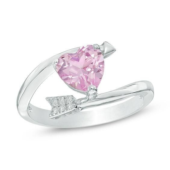 Zales 8.0mm Cushion-Cut Lab-Created Pink and White Sapphire Ring in Sterling Silver - Size 7 nVHtnhVSLU