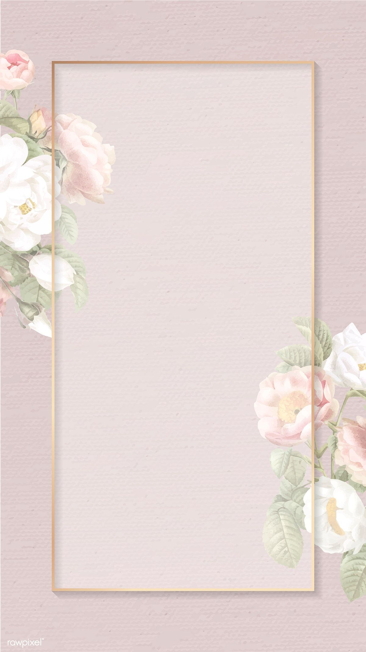 Download premium vector of Hand drawn floral rectangle gold frame card