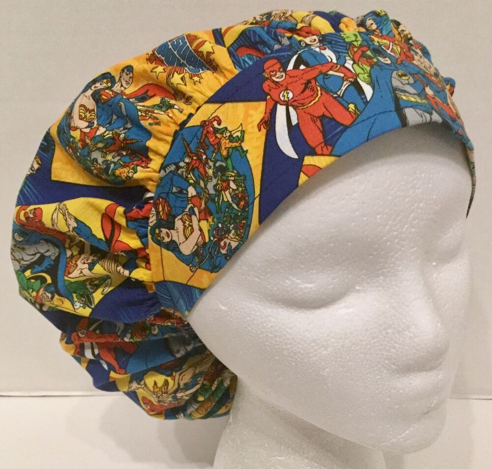 df29841998a DC Super Hero Print Size Large Medical Bouffant Scrub Cap Surgery Hat   Handmade