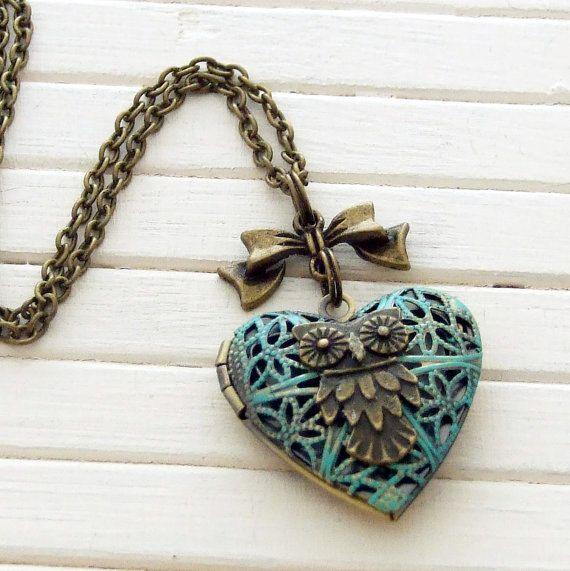 Verdigris Owl Locket .. heart locket, filigree, vintage inspired, photograph, bird necklace, bird locket, owl necklace on Etsy, $22.32