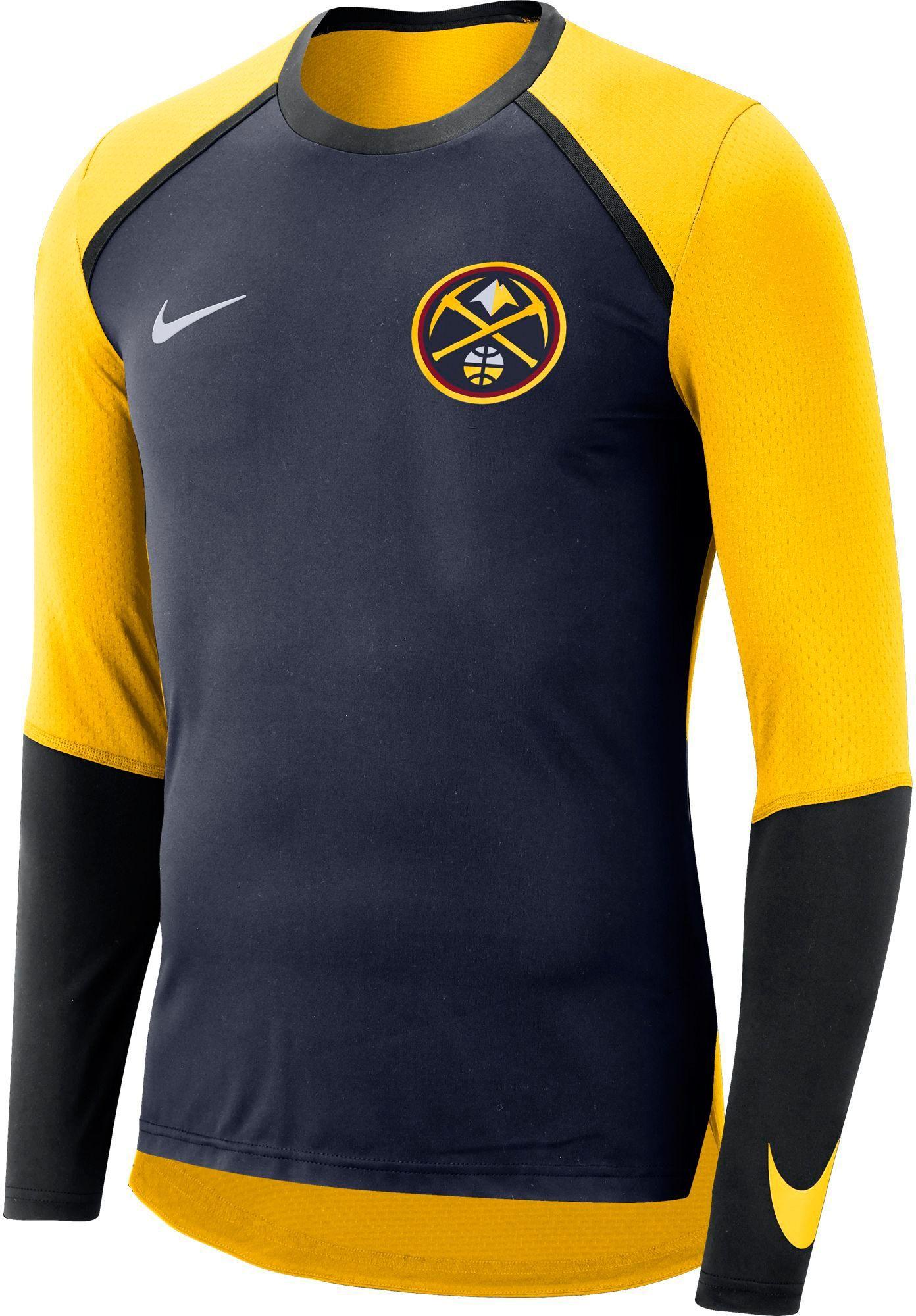 0f29e1eb82e3a Nike Men s Denver Nuggets Dri-FIT Long Sleeve Shirt, Size  XL, Team ...