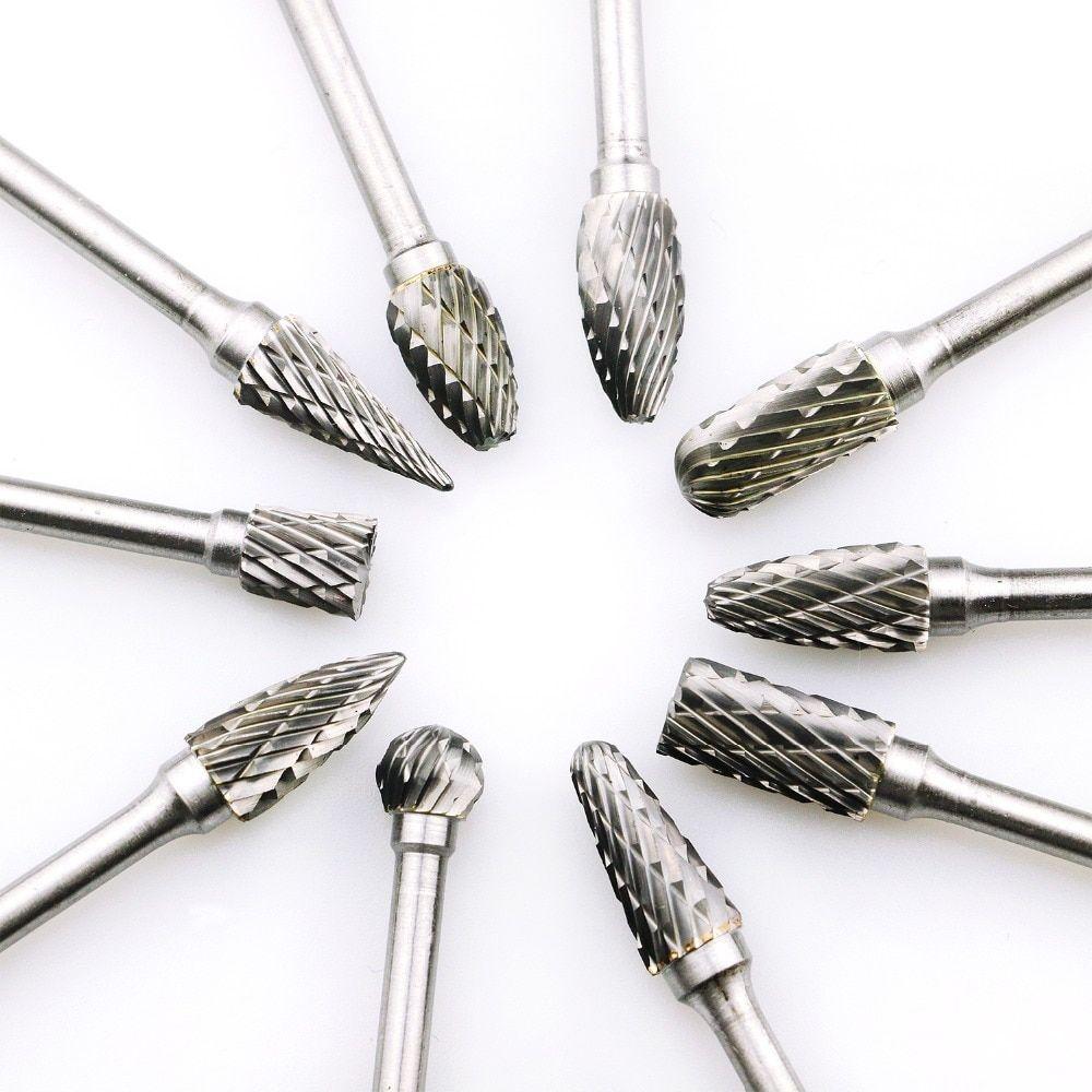 "10PCS Tungsten Carbide Rotary Burr Drill Bits Set Cutter Cut 3mm 1//8/"" Shank USA"