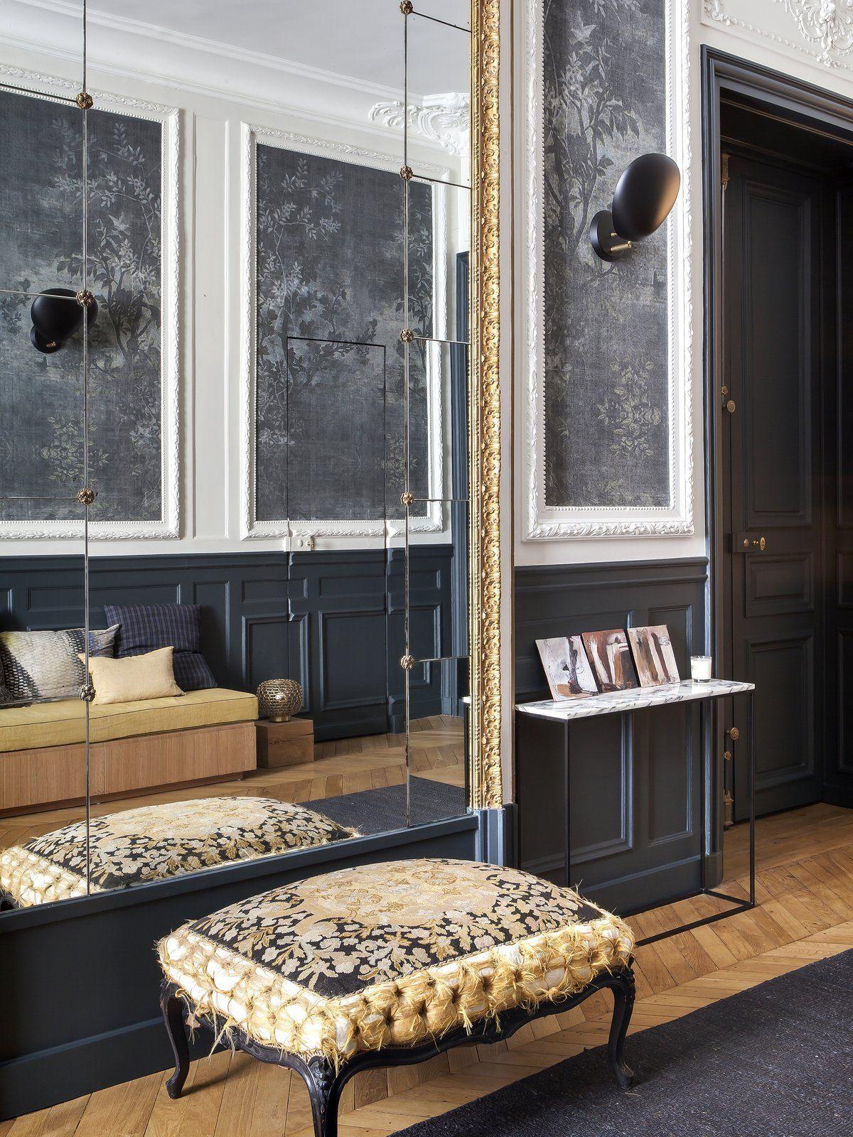 End of hallway ideas  Living Room Stools Wall Lighting Medium Hardwood Floor Rug Floor