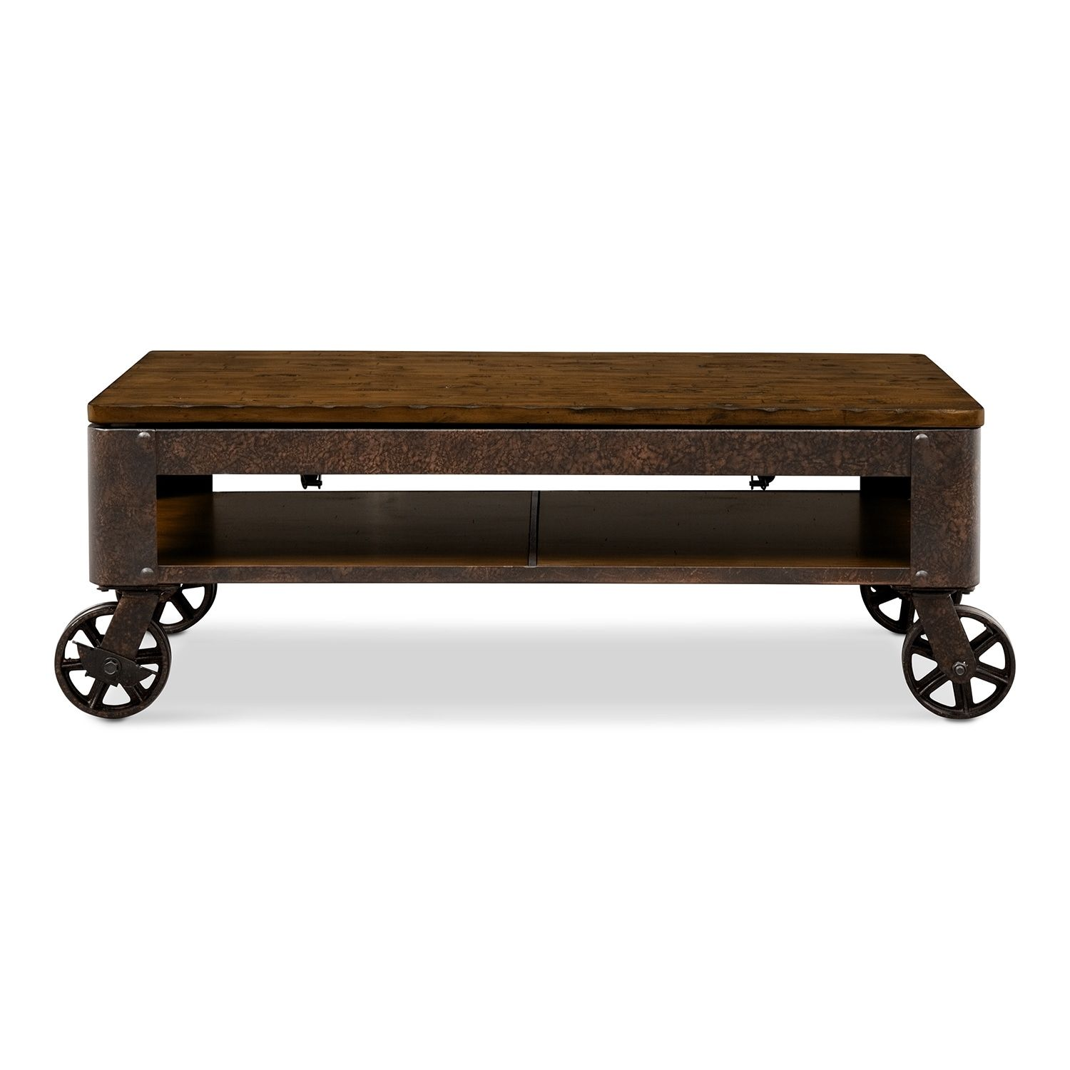 The Shortline Collection Distressed Pine Value City Furniture And Mattresses Rustic Wooden Coffee Table Coffee Table Coffee Table With Wheels [ 1500 x 1500 Pixel ]