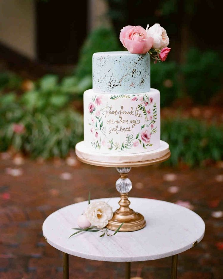 Vintage Mini Hochzeitstorte Zweistockig Pastellfarben Pfingstrosen
