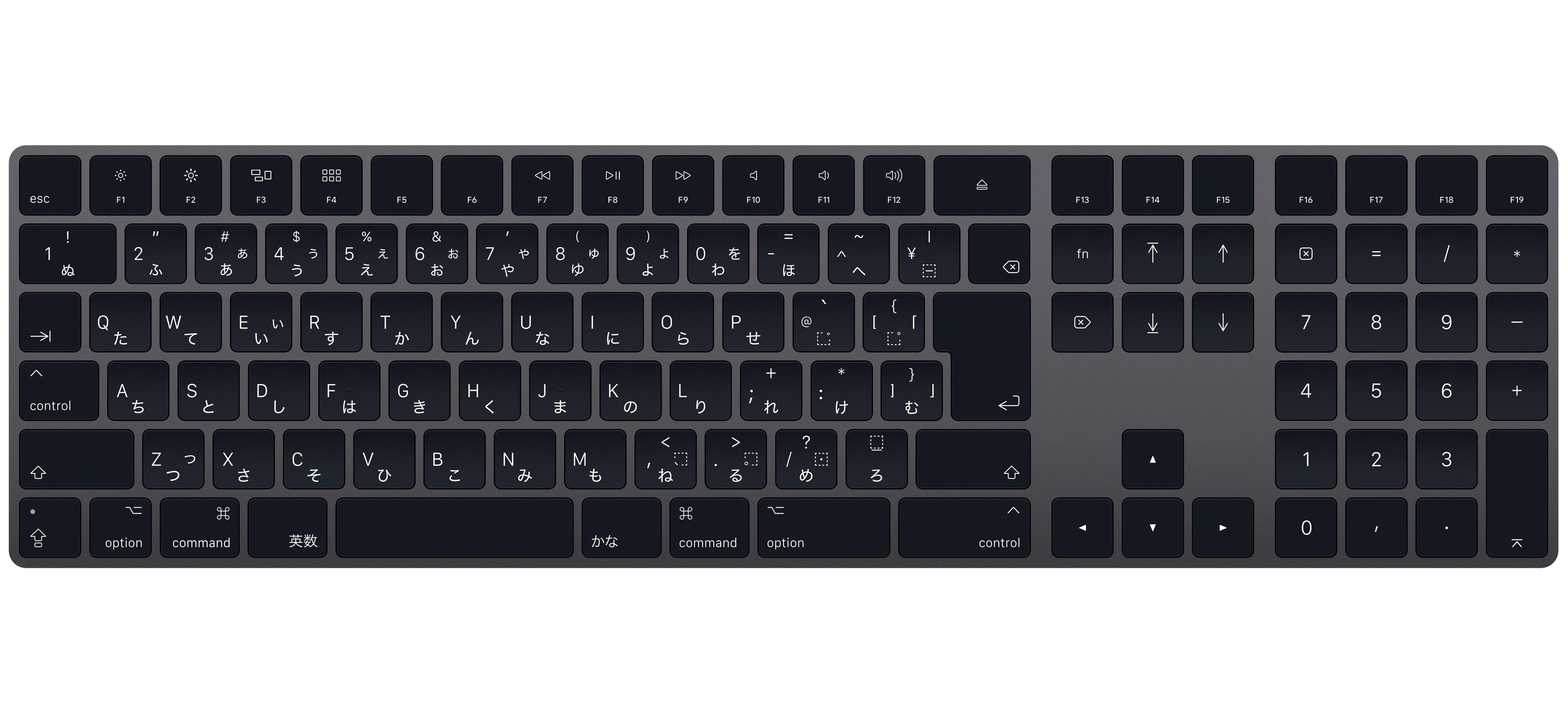 Magic keyboardテンキー付き 日本語jis スペースグレイ 14800 稞別