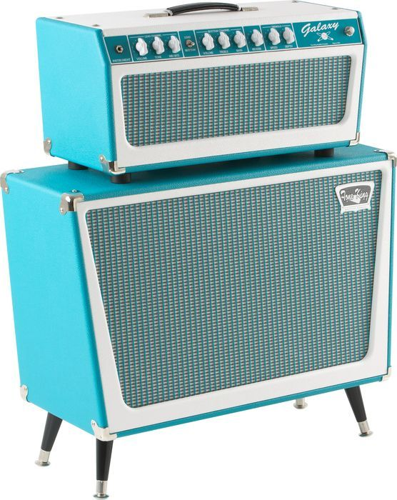 Tone King Galaxy 60w Tube Guitar Amp Head Turquoise Turquoise With Cabinet Right Facing Guitar Amp Vintage Guitar Amps Guitar Rig