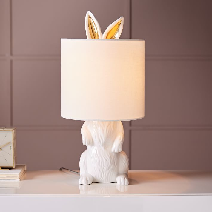 West Elm Ceramic Nature Rabbit Table Lamp Nursery Lamps Decor Bunny