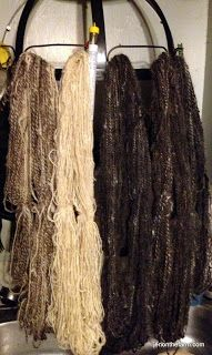 Natural colored handspun yarns from wool and mohair grown by our Common Threads Jacob sheep and angora goats.