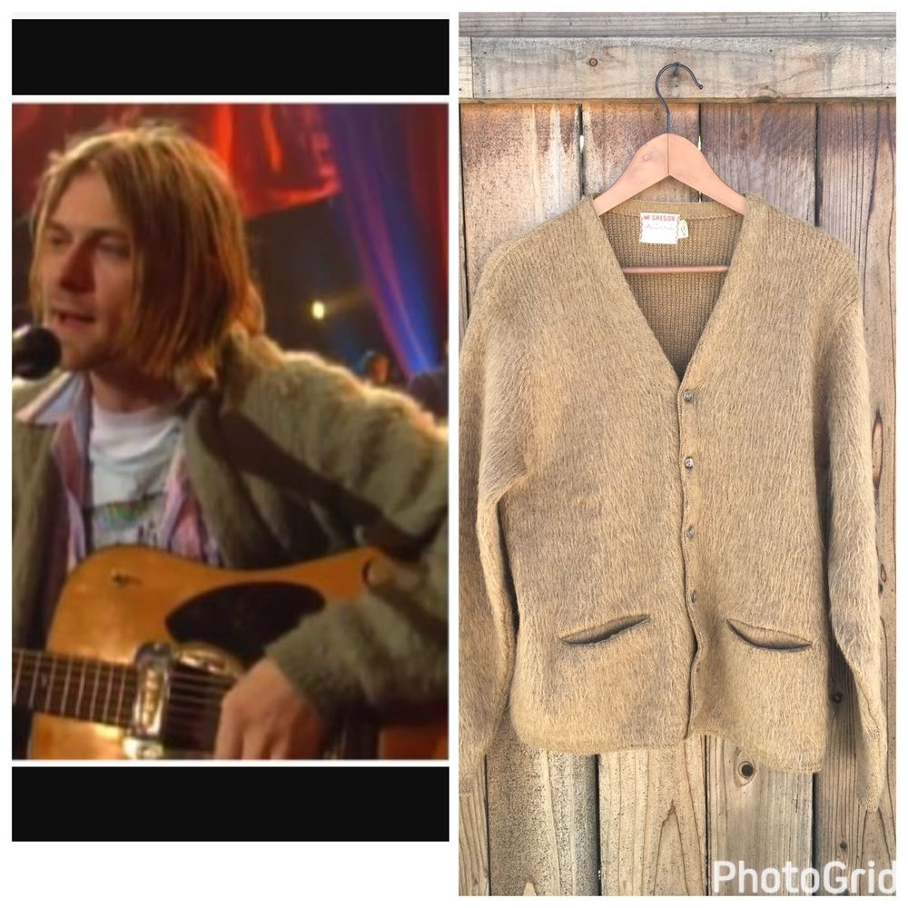 a8134df826204 Kurt Cobain Vtg 60s Mohair Brown Cardigan Sweater, Medium McGregor Powder  Snow   eBay