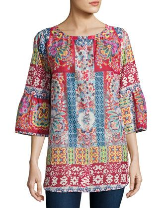 c7d2d0d8241 Brock+Button-Front+Cotton+Top,+Multi+by+Johnny+Was+at+Neiman+Marcus+ ...
