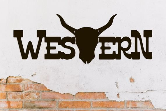 Western Metal Word Wall Art Home Decor Hanging Sign Gift Words