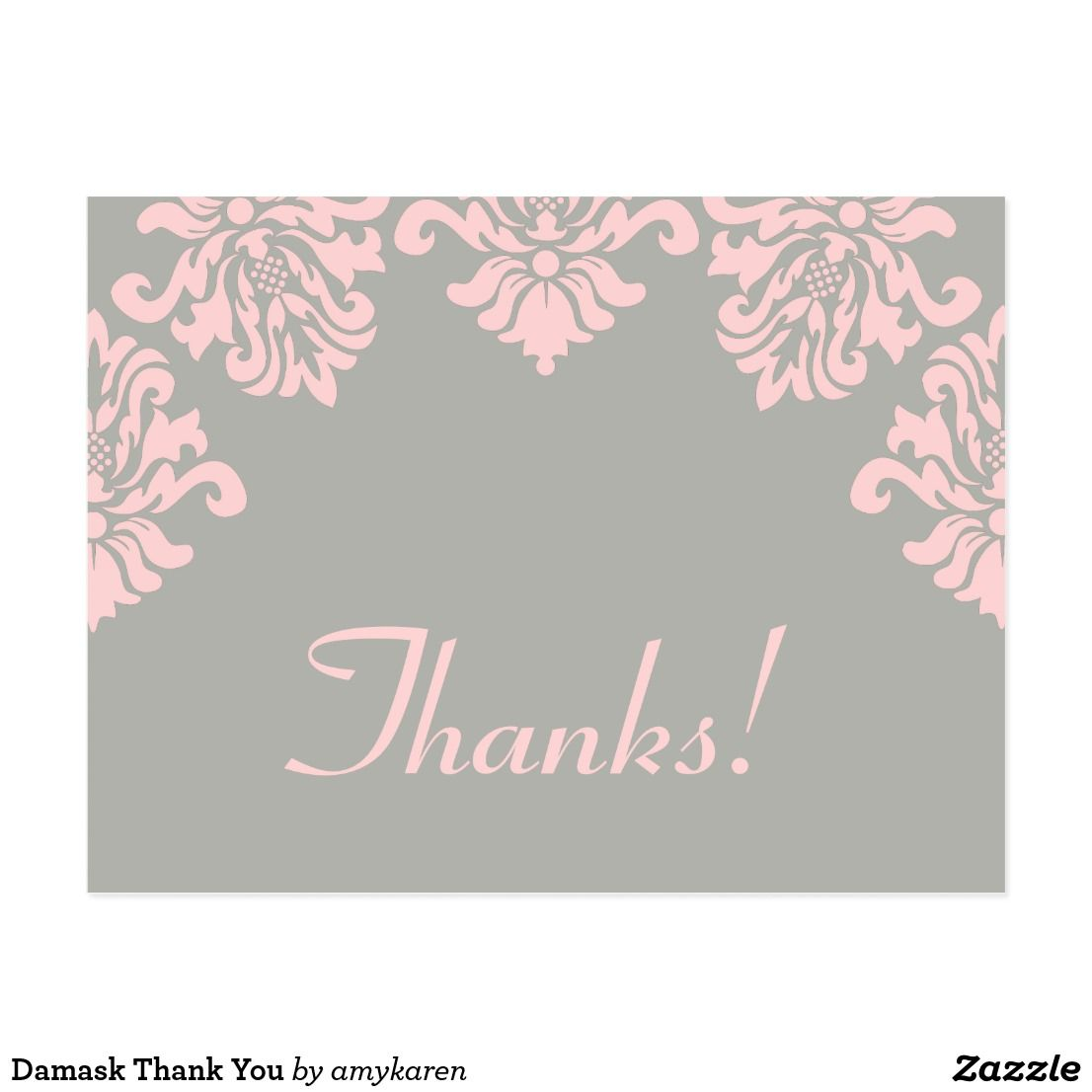 Wedding Thank You Etiquette No Gift: Damask Thank You Postcard