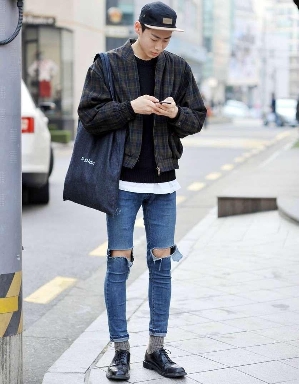 How to Wear Ripped Jeans | Asian men fashion, Korean street