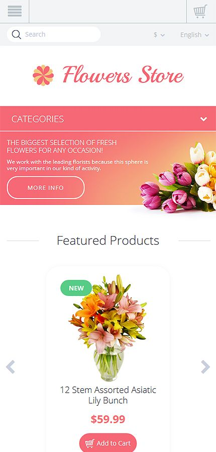 Flowers Last Added website inspirations at your coffee break? Browse for more OpenCart #templates! // Regular price: $81 // Sources available: .PSD, .PNG, .PHP, .TPL, .JS #Flowers #Last Added #OpenCart