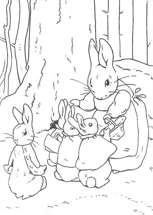 Peter Rabbit Mother Told Peter Rabbit Sister To Shop Coloring Page Coloring Sky Rabbit Colors Peter Rabbit And Friends Colouring Pages