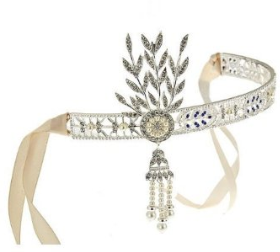 Lovely Art Deco headband features blue crystals surrounded by sparkling white crystals and an imitation pearl dangle charm. Lifetime guaranteed! $34.99