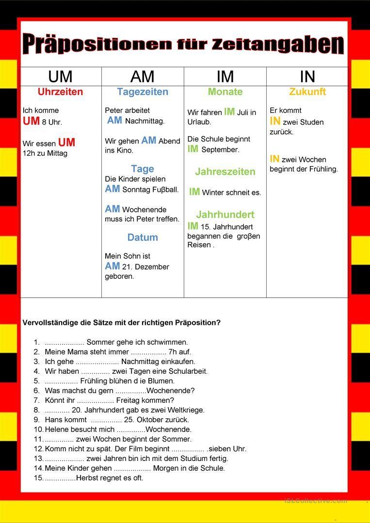 Willkommen auf Deutsch - Präpositionen für Zeitangaben. Arbeitsblatt ...