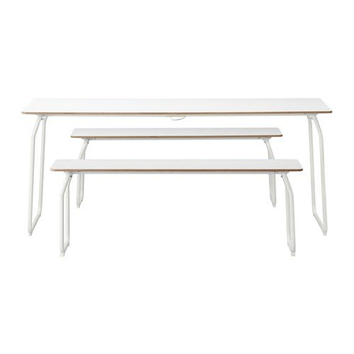 IKEA PS 2014 Table+2 Benches, In/outdoor, White, Foldable