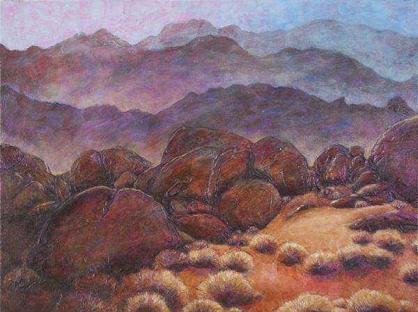 """Katya Coad, Dusk to Dawn (Alabama Hills, Lone Pine, CA), 24"""" x 18"""", Acrylic on canvas, $864.00, go to katyacoad.com and email for purchase info"""