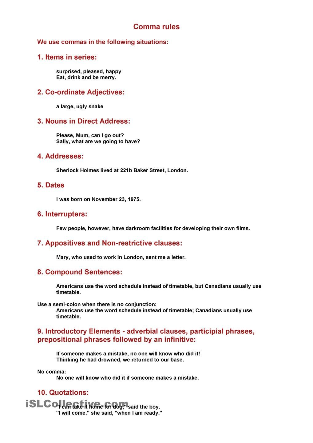 Worksheets Comma Rules Worksheet comma rules esl 2 pinterest punctuation worksheets and rules