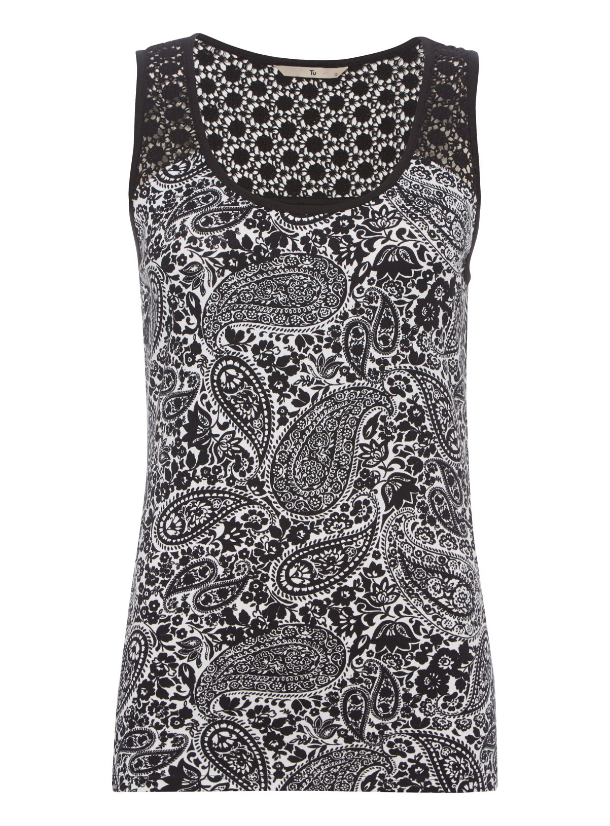 Update your new-season wardrobe with this printed vest. Designed with a scoop neck and lace trim at the back, this piece will look great with denim. Black printed lace trim vest Lace trim at back Sleeveless Scoop neck Stretch material Model's height is 5'11