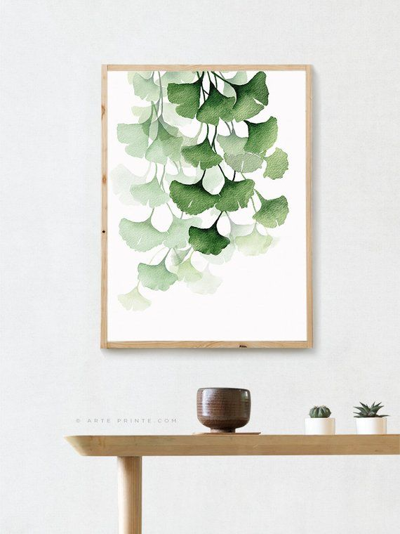 Green Watercolor Painting Ginkgo Biloba Leaves Wall Art Modern Etsy Etsy Wall Art Leaf Wall Art Botanical Wall Art