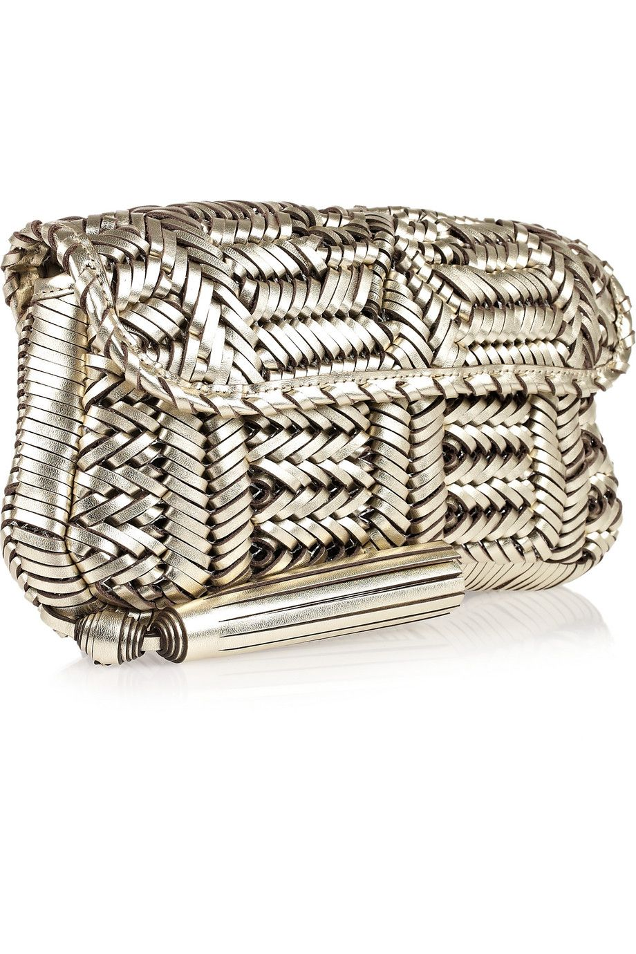 Love this detail by Anya Hindmarch - Rossum woven leather clutch.