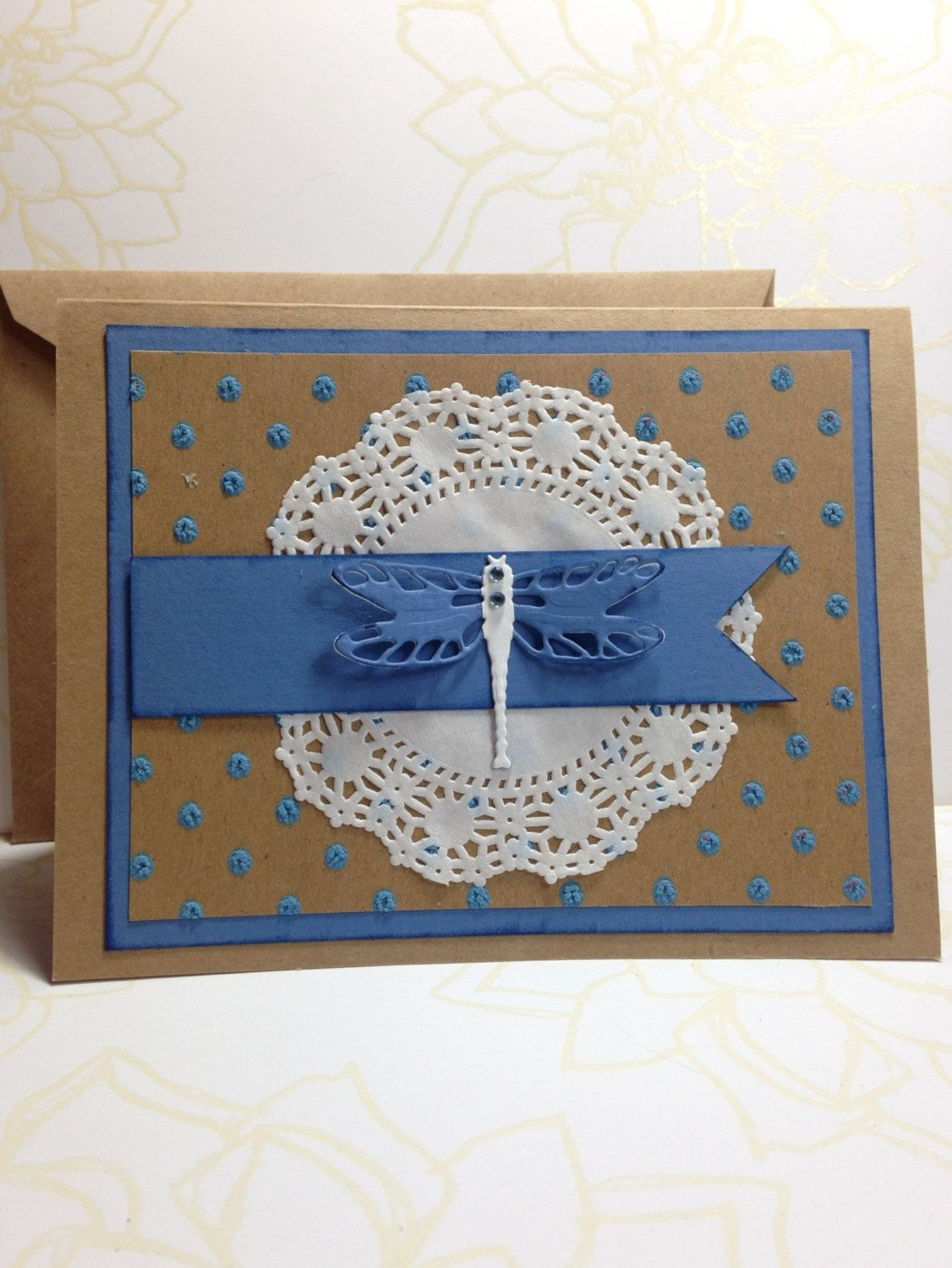 Blue Dragonfly Dimensional Birthday Card by MyPaperFrog on Etsy