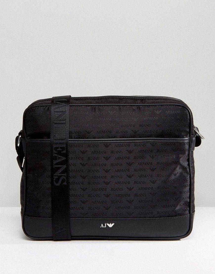 ARMANI JEANS NYLON ALL OVER LOGO MESSENGER BAG IN BLACK - BLACK.   armanijeans  bags  shoulder bags  denim  nylon   2dd6d350a99f5