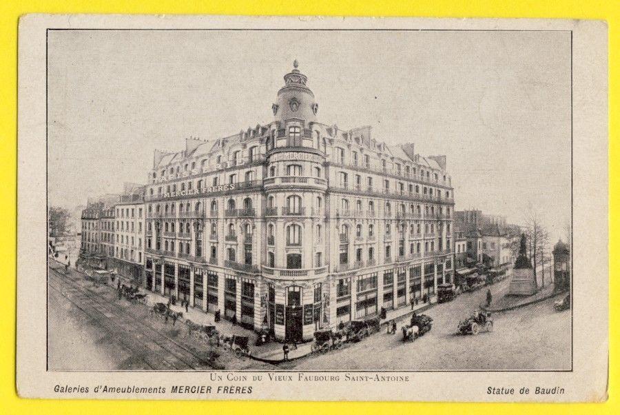Cpa Rare PARIS 100 Rue Du Faubourg St Antoine MAGASIN MEUBLES MERCIER  Frères | EBay