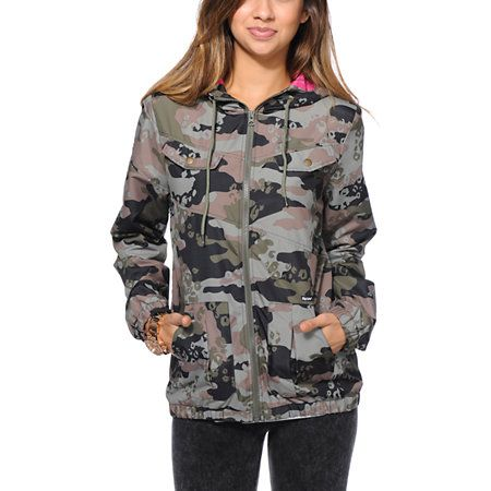872137a53 Volcom Enemy Lines Camo Print Windbreaker Jacket