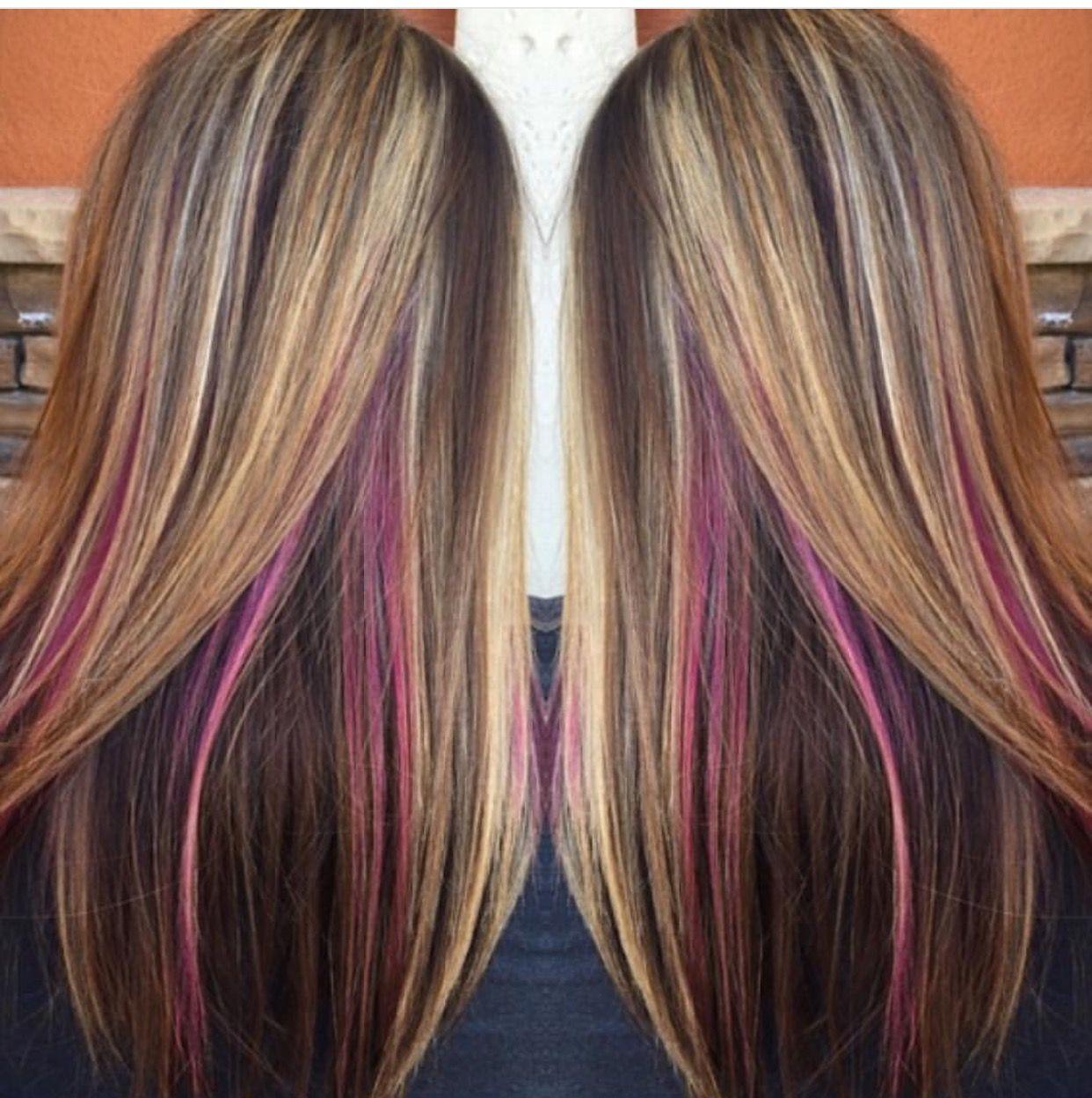 Pin By Kim Aiken On Hair Underlights Hair Peekaboo Hair Brunette Hair Color With Highlights