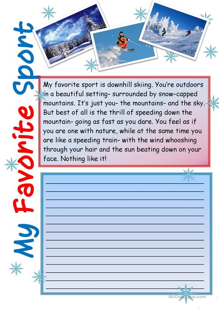 Creative Writing My Favorite Sport 5 Worksheet Free Esl Printable Made By Teacher Teaching Activities English Writer Essay Subject